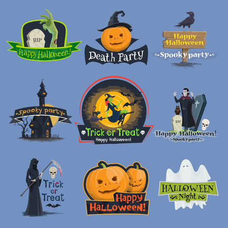 Halloween truc ou traiter des icônes vectorielles de vacances Vecteurs