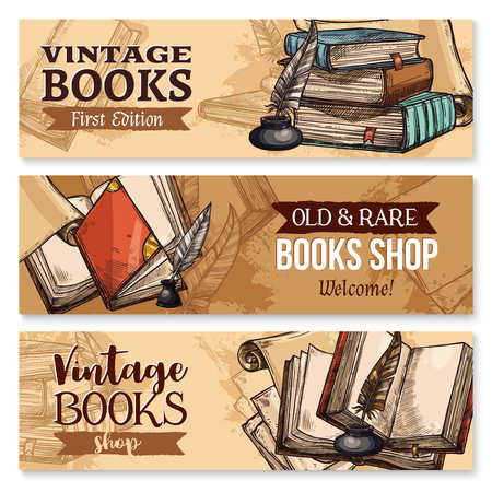 Vieux livre avec plume et ensemble de bannière encrier Banque d'images - 88065759