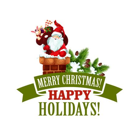 Merry Christmas Santa Xmas tree vector icon Illustration