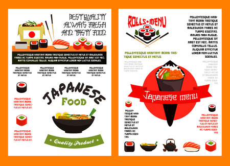 Japanese seafood sushi menu banner template Illustration