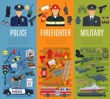 Police, firefighter and military profession banner Ilustração