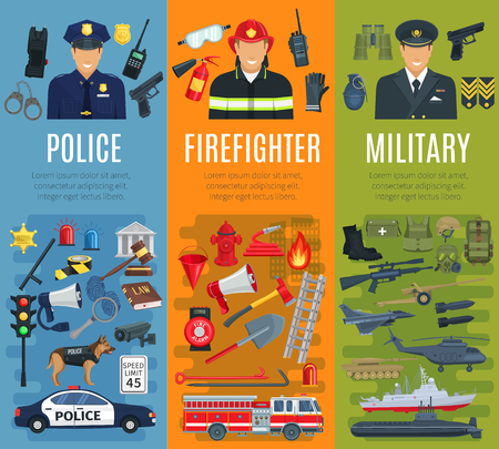 Police, firefighter and military profession banner Illustration