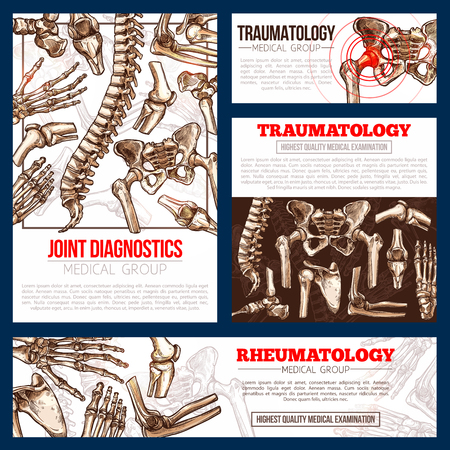 Medical banner template set of bone, joint x-ray