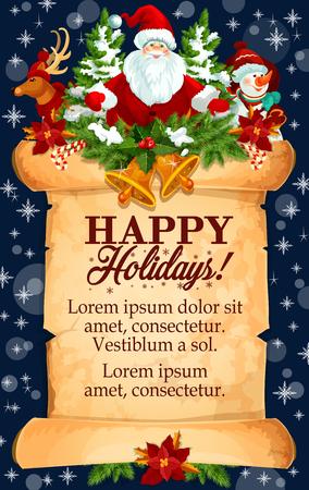 Christmas holidays vector New Year greeting card Illustration