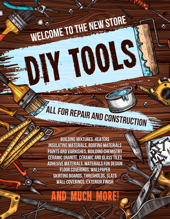 Repair tool on wooden background banner design