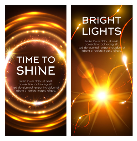 Glowing golden lights banner set design