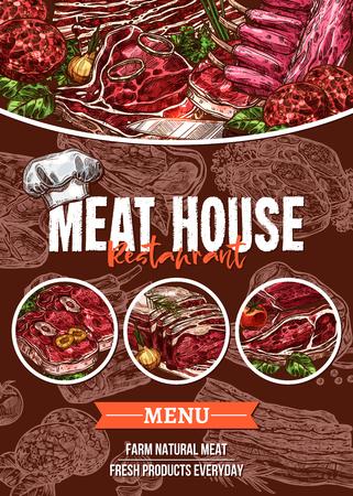 バーベキュー レストランの肉メニュー スケッチ バナー