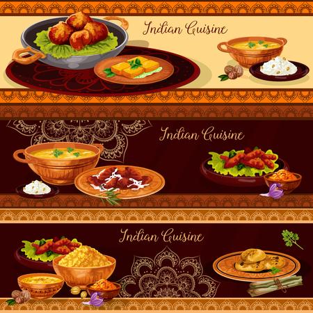 ターリー デザインのインド料理レストラン バナー  イラスト・ベクター素材