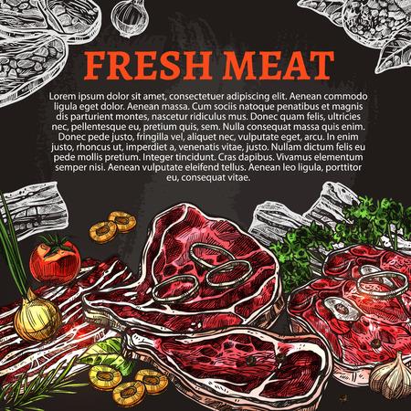 Fresh meat chalkboard poster, butcher shop design