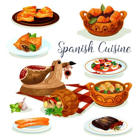 スペイン料理ディナー メニュー ポスター デザイン  イラスト・ベクター素材