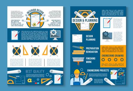 Building construction, interior design poster set