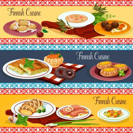핀란드 요리 레스토랑 메뉴 배너 세트 디자인 스톡 콘텐츠 - 88065708