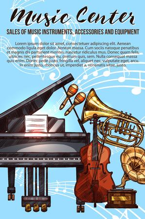 Muziek instrument schets banner met muzieknoten