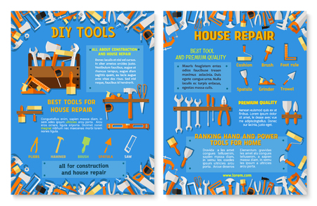 Construction and house repair work tool poster set Illustration