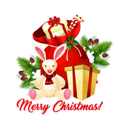 Christmas tree and Santa gift bag greeting card Illustration
