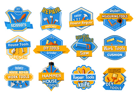 Work tool isolated badge set, home repair design