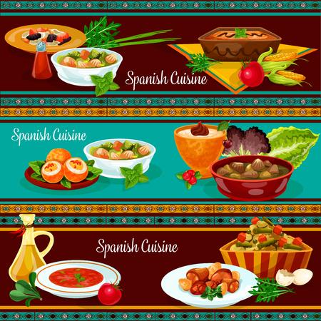 Spanish cuisine restaurant dinner banner set