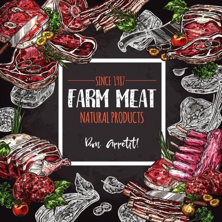 Fresh meat farm food chalkboard poster design