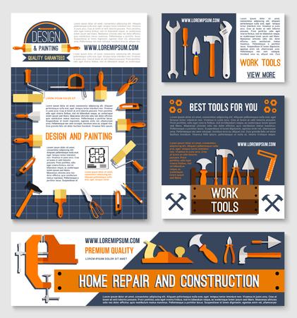 家の修繕、建設ツール ポスター テンプレート セット