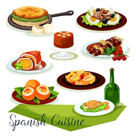 Cucina spagnola icona con carne e frutti di mare Archivio Fotografico - 88065676