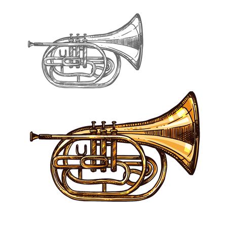 Boceto trompeta o cuerno instrumento de música de jazz