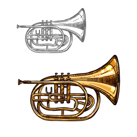Trumpet or horn jazz music instrument sketch Stock Vector - 88065683
