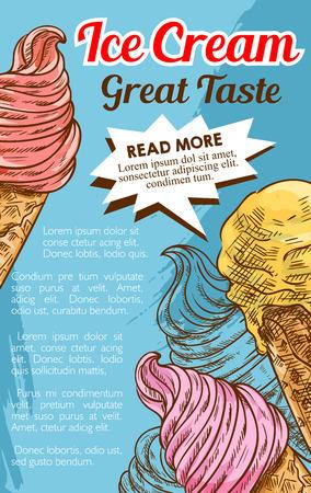 Ice cream cone dessert retro sketch poster Ilustração