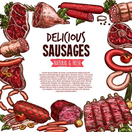 Sausage, beef and pork meat delicatessen banner Çizim