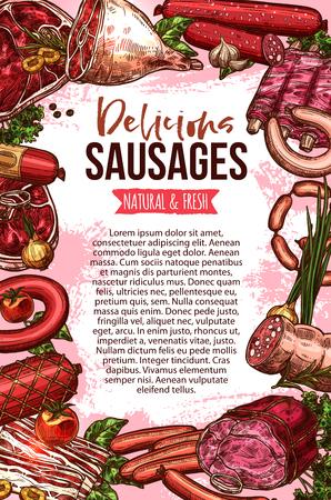 新鮮な肉やソーセージ製品のスケッチ バナー