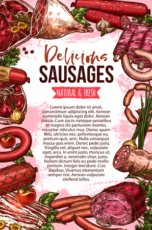 Fresh meat and sausage product sketch banner