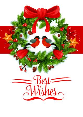 Christmas wish New Year wreath vector icon Illustration