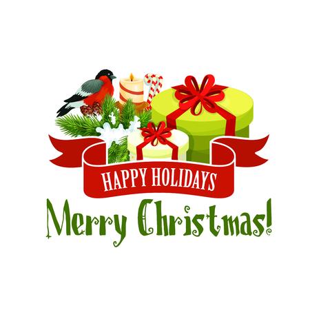 Christmas tree and gift icon, Xmas holiday design