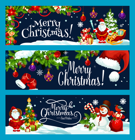 Merry Christmas tree gift decoration vector banner