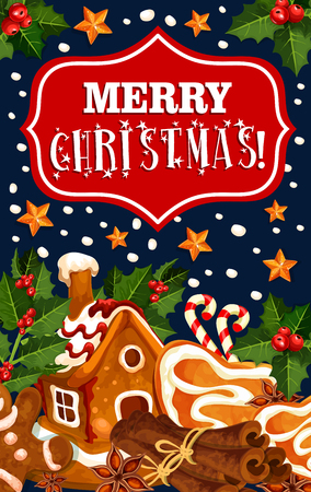Merry Christmas winter cookie vector greeting card