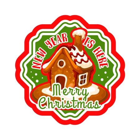 Weihnachtslebkuchen-Plätzchenhaus-Aufkleberdesign Standard-Bild - 88317641