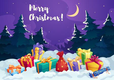 Christmas present box and Santa gift bag card Illustration