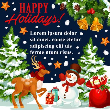 Christmas New Year holiday vector greeting card Illustration