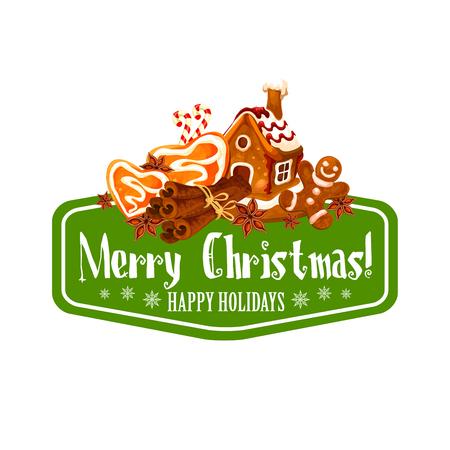 クリスマスのジンジャーブレッド クッキー グリーティング カード デザイン