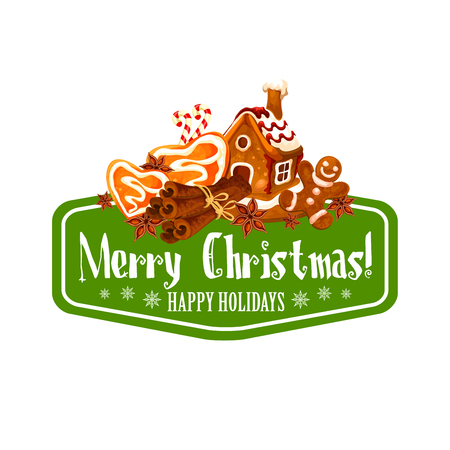 Christmas gingerbread cookie greeting card design