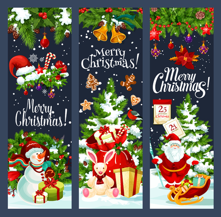 Merry Christmas Santa gifts tree vector banners Illustration