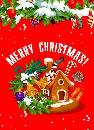 Merry Christmas banner with gingerbread house Ilustracja