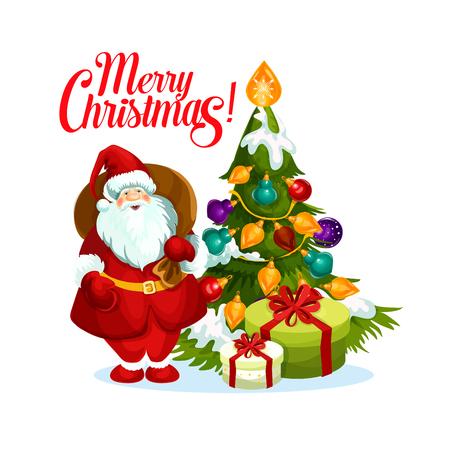 메리 크리스마스 산타 선물 트리 벡터 아이콘 일러스트
