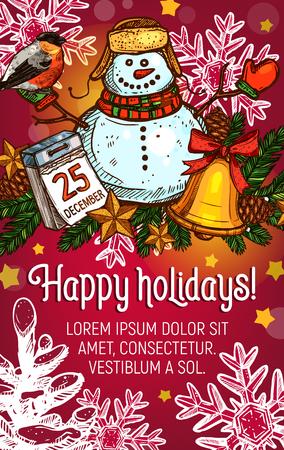 Wintervakantie poster met kerstslinger Stockfoto - 88317624