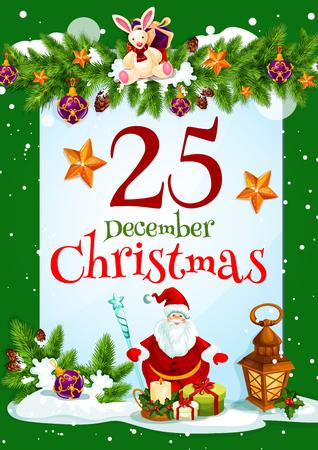 Santa Claus and Christmas gift greeting card