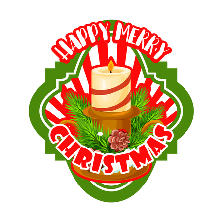 Christmas label with Xmas tree bunch and candle
