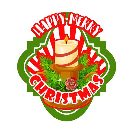Weihnachten Label mit Weihnachtsbaum und Kerze Standard-Bild - 88317594