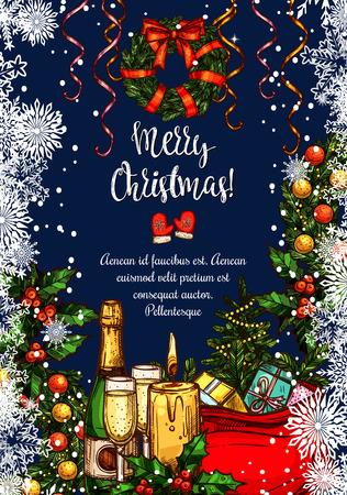 メリー クリスマス ベクトル スケッチ グリーティング カード
