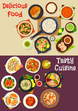 Seafood dishes icon set of fish, beef and spinach soups, seafood rice, spring roll, shrimp noodle and salad, rice pancake, vegetable stew with tuna, fish sandwich, pumpkin curry, fried fish with lemon Illustration