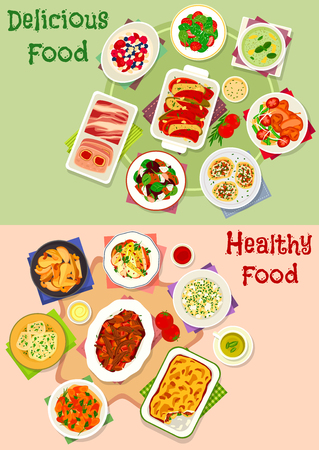 Diner maaltijd icon set van plantaardige salades met vlees en bessen, rundvlees en groenten stoofpot, fruit desserts met room en honing, gebakken groenten met kaas, pate, aardappel met champignons en vis, komkommer soep