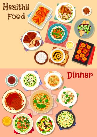 Gesundes Abendessen Gerichte Icon-Set von Teigwaren mit Fleisch, Gemüse, Käse und Nüsse, Kartoffeln und Hühnchen Suppen, Thunfisch-Salat mit Gemüse und Ei, Huhn Tortilla, gebratener Fisch, Kürbis Omelette, Obst-Dessert Standard-Bild - 88306130